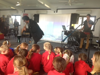 Musica Viva incursion delighting students with their musical antics.